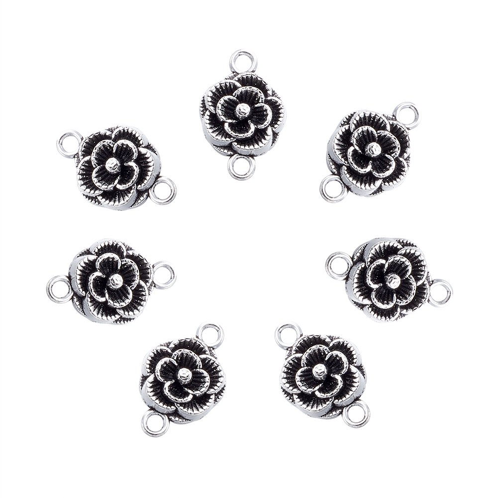 Beadthoven 20pcs Tibetan Style Flower Antique Silver Connectors Link, Flower Connector for Jewelry Making Necklaces Bracelets Earrings,Lead Free and Cadmium Free