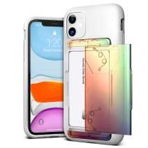 VRS DESIGN Damda Glide Shield Compatible for iPhone 11 Case, with [2 Cards] Premium [Semi Auto] Wallet for iPhone 11 6.1 inch (2019) Orange Purple Gradient