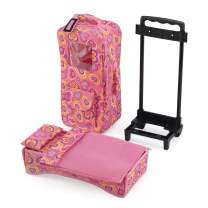 14 Inch Doll Accessories | Doll Travel Carrier Backpack Case, with Trolley, Storage Pockets and Removable Baby Doll Bed – Perfect for Easter! | Fits American Girl Wellie Wishers and Bitty Baby Dolls