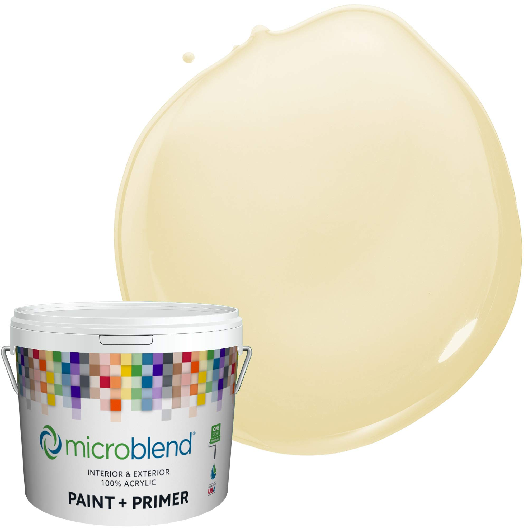 Microblend Interior Paint + Primer, Sunshine Mist, Eggshell Sheen, 1 Gallon, Custom Made, Premium Quality One Coat Hide & Washable Paint (73220-2-M0888B2(C))