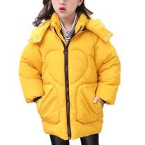 ASHER FASHION Girls Long Coats Thick Outerwear Winter Hooded Jackets 3-7 Years