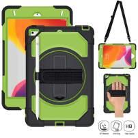 iPad Mini 5 Case, iPad Mini 4 Case SUPFIVES Full-Body Shockproof Hybrid Armor Case with 360 Rotating Stand+Pencil Holder+Shoulder Strap+Hand Strap for iPad Mini 4/5 (Green+Black)