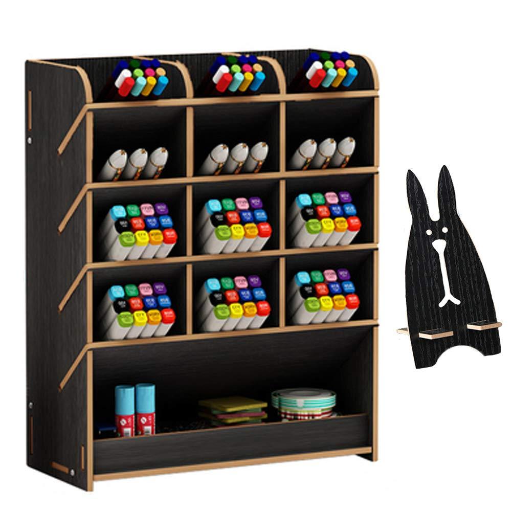 Marbrasse Wooden Desk Organizer, Multi-Functional DIY Pen Holder Box, Desktop Stationary, Home Office Supply Storage Rack with Drawer (B12-Black)