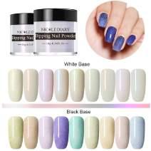 NICOLE DIARY 9 Boxes Pearly Shell Dipping Nail Powder Kit Acrylic Glitter Nail Dip Nail Powder Without Lamp Cure Natural Dry Nail Art Decoration(9 Colors)