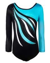 Happy Cherry Girl Dance Leotard Long Sleeve Gymnastic Shiny Stripe Bodysuit 3-10Y