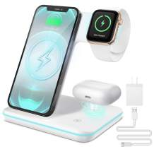 Liwin Wireless Charger, 3 in 1 Wireless Charging Station Compatible with Apple Watch Series SE/6/5/4/3/2/1/AirPods Pro 2, Fast Charger Stand for iPhone 12/11/11 Pro Max/XR/XS Max/Xs/X/8/Samsung White