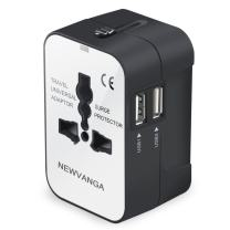Travel Adapter, Worldwide All in One Universal Travel Adapter Wall Charger AC Power Plug Adapter with Dual USB Charging Ports for USA EU UK AUS, White