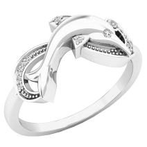 Dazzlingrock Collection 0.08 Carat (ctw) 10K Gold Round Cut White Diamond Ladies Right Hand Dolphin Ring