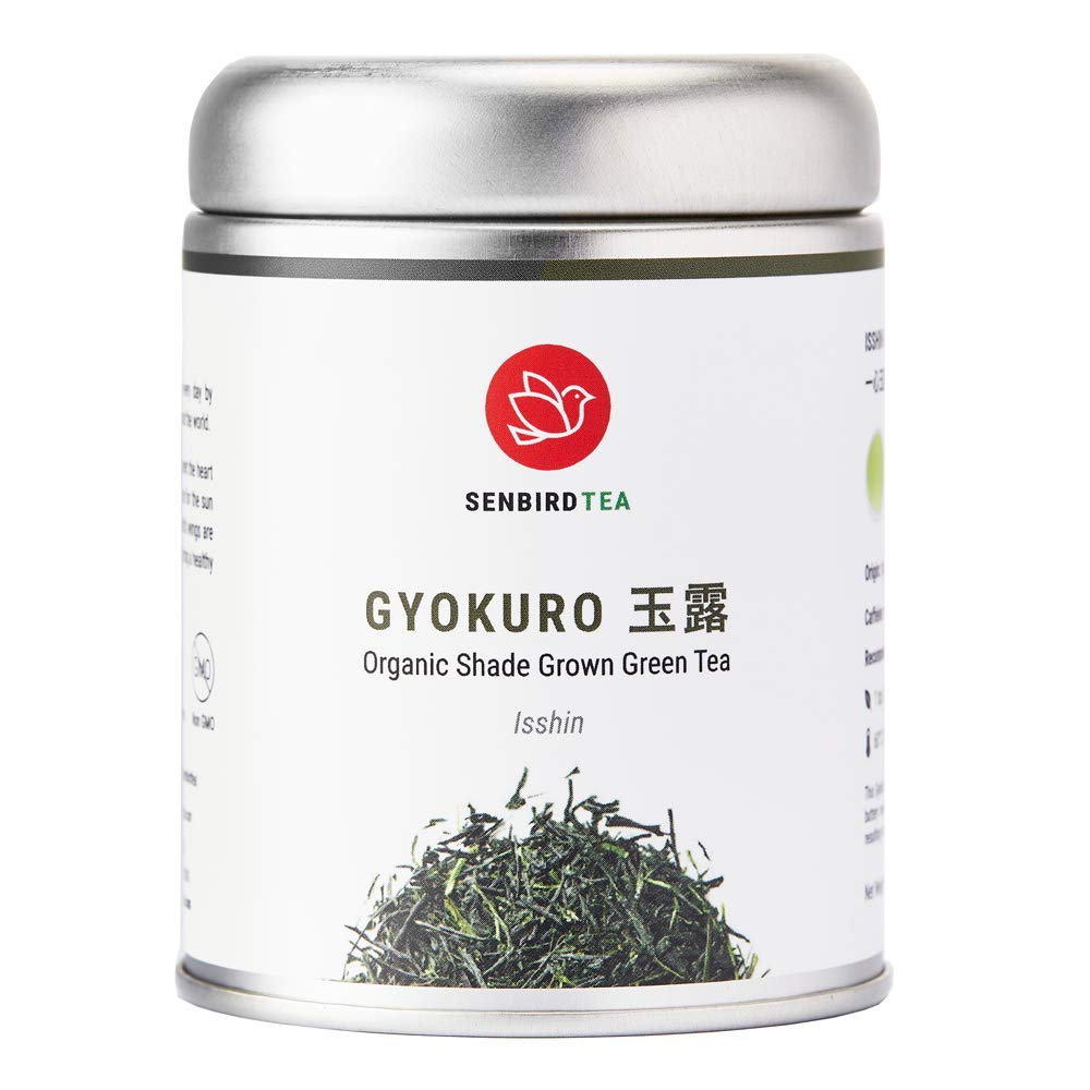 Senbird Organic Gyokuro Tea, Shade Grown Green Tea - Gyokuro Isshin | 1.76oz (50g) Japanese Imperial Gyokuro From Kyoto, Japan | Organic Japanese Loose Leaf Green Tea in Airtight Tea Tin