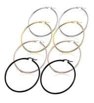 4 Pairs Stainless Steel Rounded Hoop Earrings Set Big Hoop Earrings for Women (15MM-70MM)