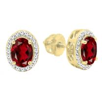 Dazzlingrock Collection 14K Ladies Halo Stud Earrings, Yellow Gold