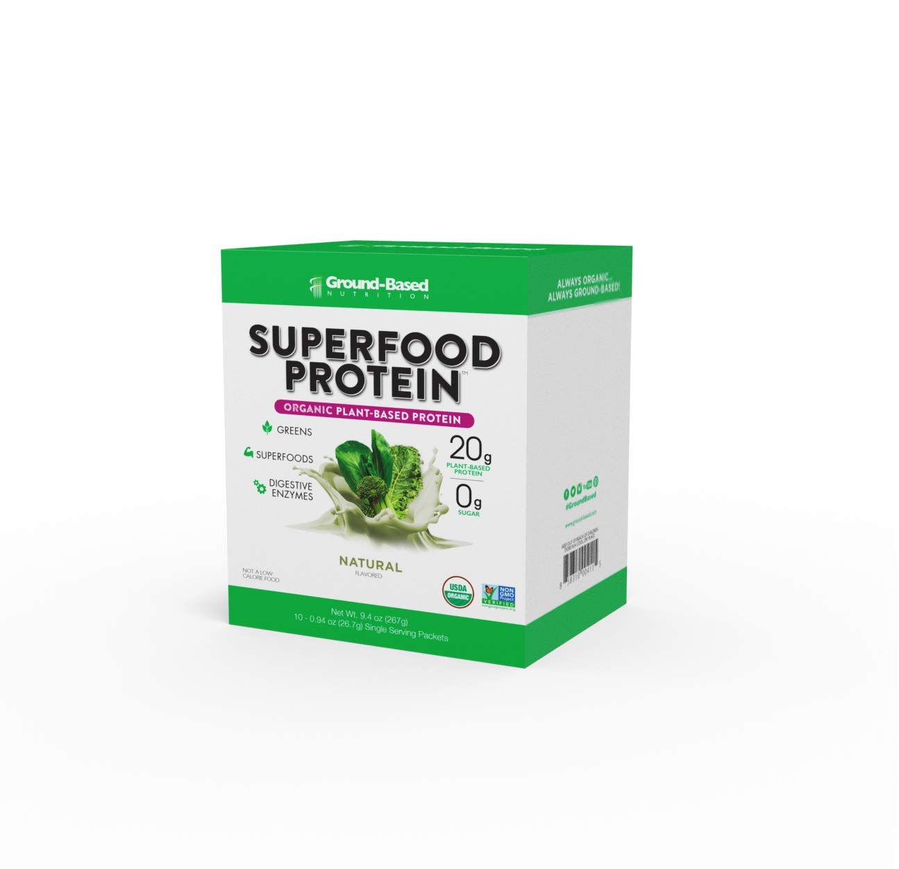 Ground-Based Nutrition Certified Organic Superfood Protein, 100% Plant-Based Protein with Alkalizing Greens, Superfoods and Digestive Enzymes, Helps Build Muscle, Natural Unflavored, Vegan, 10 Count