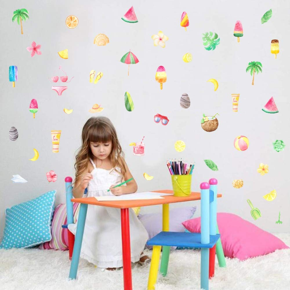TOARTi Watercolor Summer Holiday Wall Decals (46 Decals),Fresh Leaf& Flower Fruits Stickers for Fridge Decor, Ice Cream Wall Art for Baby Kids