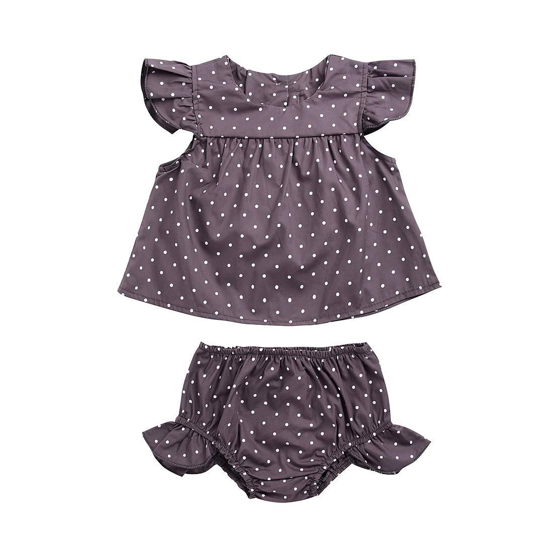 Newborn Baby Girl Summer Diaper Cover Shorts Clothes Suits Ruffled Sleeves Polka Dot Dress Top Cotton Panties 2Pcs Set