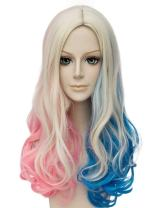 Qaccf Long Curly Mixed Color Middle Part Halloween Cosplay Women Wig