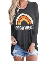 Vanbuy Womens Long Sleeve Good Vibes T Shirts Rainbow Print Top Graphic Tee Tunic