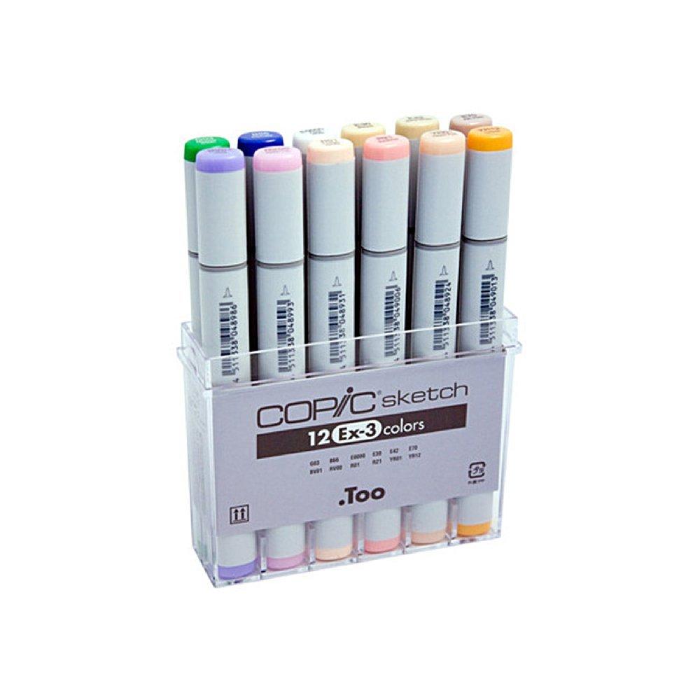 Copic Sketch Marker EX-3 Set: Oval Barrel, Super Brush and Medium Broad Nibs, 12 Assorted Colors (S12EX-3)