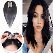 14 Inch Silk Base Clip in Human Hair Toppers for Women Thin Clip on Crown Top Hairpieces Natural Toupee for Thinning Hair #1 Jet Black