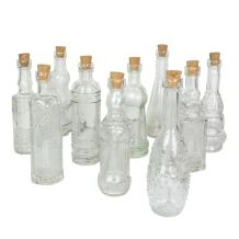 Vintage Glass Bottles with Corks, Bud Vases, Assorted Shapes, 5 Inch Tall, Set of 10 Bottles, (Clear)