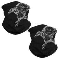 GLUDEAR 3D Print Skull Viking Face Mask UV Sun Mask Seamless Bandana Multifunctional Neck Gaiter Women Men