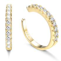 Milacolato 925 Sterling Silver CZ Pave Ear Cuffs Small Hoop Earrings for Womens Cubic Zirconia Huggie Non Piercing Earrings