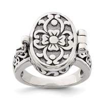 925 Sterling Silver Antique Locket Band Ring Fine Jewelry Gifts For Women For Her
