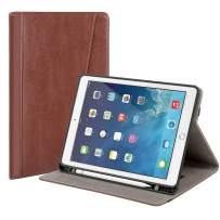Gshine Case for iPad 9.7 2018/2017, Full-Body Protective Rugged Shockproof Case with Built-in Hand Strap Holder & Pencil Holder,Auto Sleep/Wake for iPad 9.7 inch 5th/6th Generation - Brown