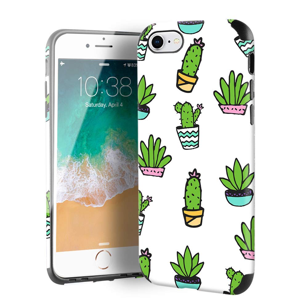 CUSTYPE Case for iPhone SE, iPhone 7 Case for Girls & Women, Plants Series Cactus Print Pattern Design PC Leather with TPU Bumper Slim Protective Cover for iPhone 8/7/ se 4.7''