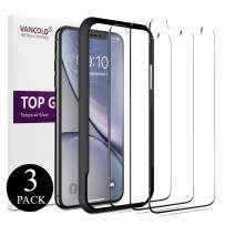 Vancold Screen Protector Designed for iPhone 11 /iPhone Xr(6.1 inch)(Clear,3 Packs), Case Friendly Premium HD Clarity Tempered Glass Screen Protector with Alignment Installation Frame