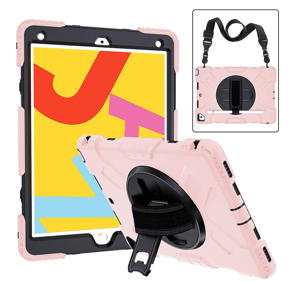 2019 New iPad 7th Generation Case with Screen Protector Pencil Holder Timecity iPad 10.2 Case 360/° Rotatable Kickstand with Hand Strap Shoulder Strap Red Shockproof Anti Scratch iPad 7th Gen Case