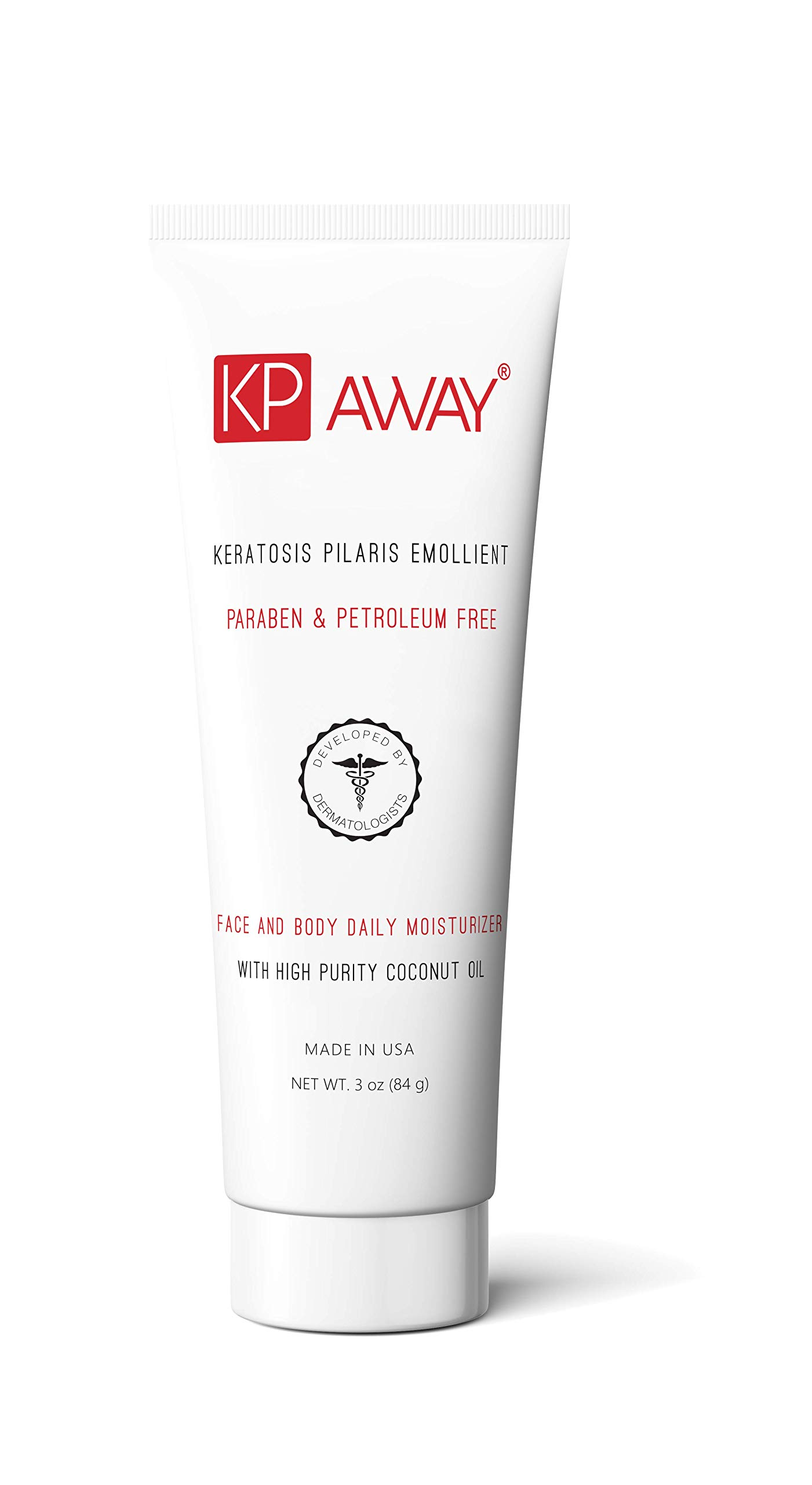 KPAway Keratosis Pilaris Emollient - Acid Free KP Cream, Lotion Made With Organic Coconut Oil, Baby Friendly, Paraben Free, For Rough & Bumpy Skin (3.0 oz)