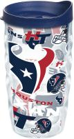 Tervis 1248312 NFL Houston Texans All Over Tumbler with Wrap and Navy Lid 10oz Wavy, Clear