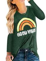 Beotyshow Womens Good Vibes Loose Shirt Cute Sexy Tank Tops Tunics Long Sleeve Less Graphic Rainbow T-Shirts