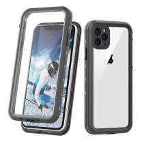 """iPhone 11 Pro Max Clear Waterproof Case, Full Body Heavy Duty Dustproof Shockproof Case with Built-in Screen Protector for iPhone 11 Pro Max (6.5"""",2019) (Black&Clear)"""
