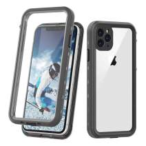 "iPhone 11 Pro Max Clear Waterproof Case, Full Body Heavy Duty Dustproof Shockproof Case with Built-in Screen Protector for iPhone 11 Pro Max (6.5"",2019) (Black&Clear)"