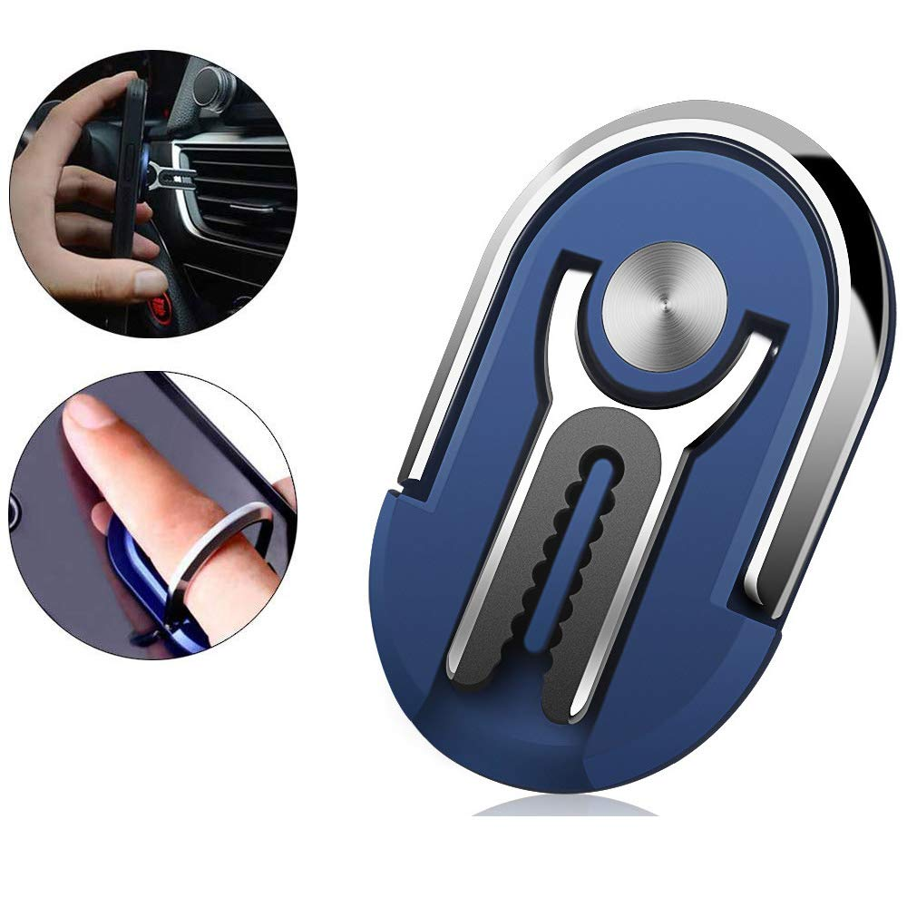 Cell Phone Ring Holder Stand, 3 in 1 MR. YLLS Universal Air Vent Car Phone Mount and Finger Grip Ring Kickstand, 360°Rotation & 90°Flip(Blue)