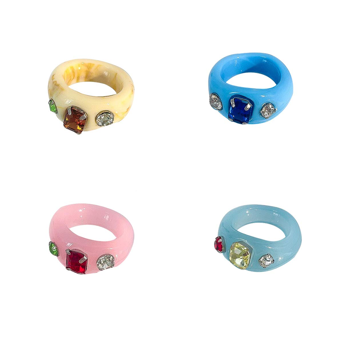 KURTCB Vintage Resin Rings Handmade Chunky Acrylic Rhinestone Colorful Transparent Wide Square Dome Stackable Finger Ring Set for Women Girls