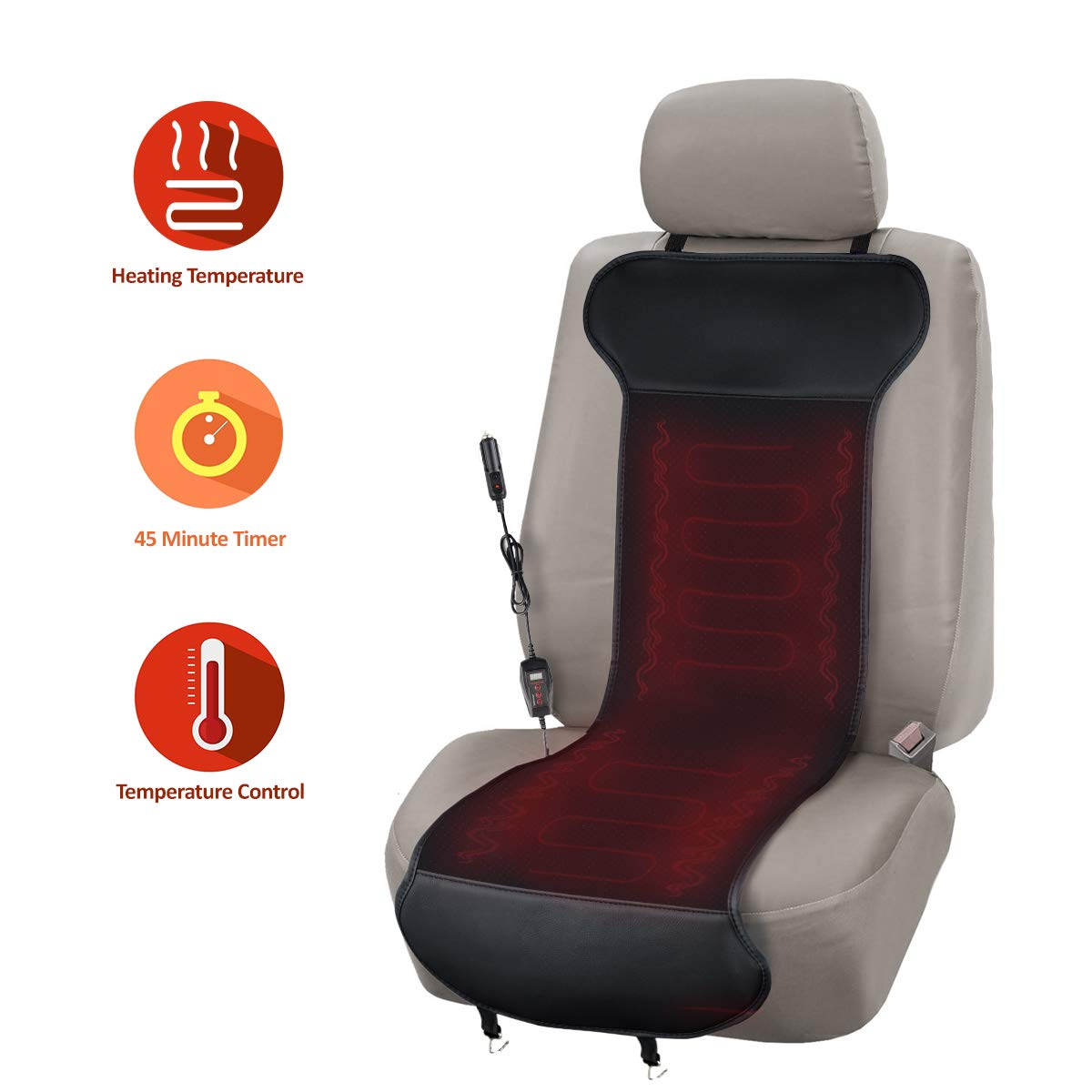 Zone Tech Car Heated Seat Cover Cushion with Temperature Control- Premium Quality Classic Black 12V Heated Comfortable Seat Cushion Perfect for Cold Weather and Winter Driving