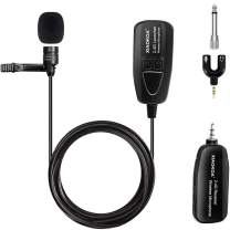 Professional 2.4G Wireless Lavalier Microphone, Omnidirectional Condenser Mic,Rechargeble Transmiatter and Receiver Microphone for Voice Amplifier,Speakers,PA System(160ft)