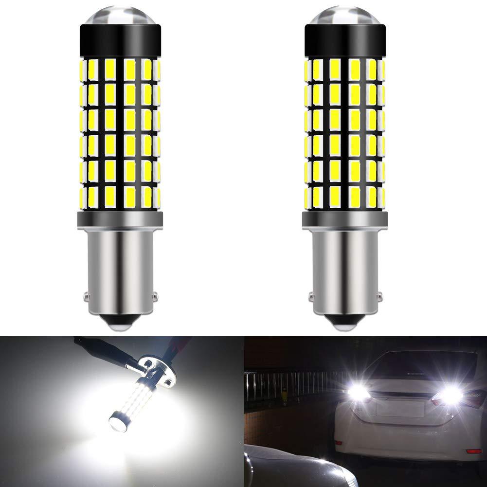 KATUR BA9 BA9S 53 57 1895 Led Light Bulb Super Bright 930 Lumens High Power 3014 78SMD Lens LED Bulbs for Brake Turn Signal Tail Backup Reverse Brake Light Lamp,Xenon White(Pack of 2)