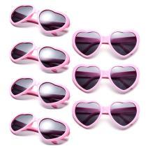 Neon Colors Party Favor Supplies Wholesale Heart Sunglasses (7 Pack Pink)