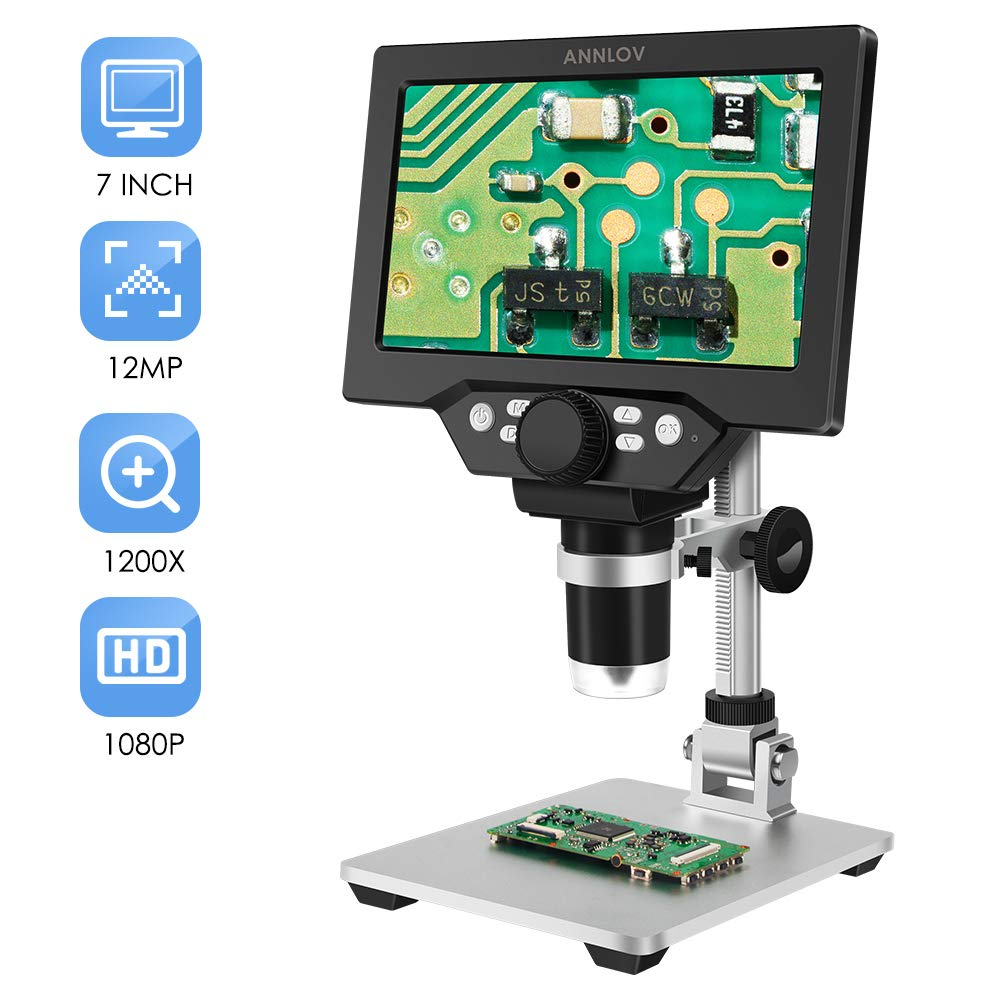 7 inch LCD Digital Microscope ANNLOV 1-1200X USB Maginfication 12MP 1080P Handheld Electronic Coin Microscope Camera with 8 Adjustable LED Lights for Adults PCB Soldering Kids Outside Use