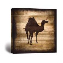 wall26 - Square Canvas Wall Art - Camel Silhouette on Rustic Wood Board Texture Background - Giclee Print Gallery Wrap Modern Home Decor Ready to Hang - 16x16 inches