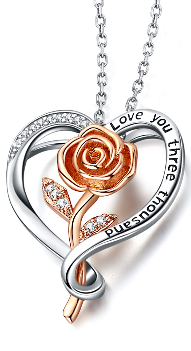 Aniu Heart Rose Flower Necklace for Women, Gold Plated 925 Sterling Silver Pendant Jewelry 5A Cubic Zirconia (Laser Lettering Love You Three Thousand) with Gift Box
