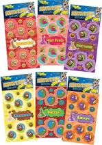 Just For Laughs Dr. Stinky's Scratch N Sniff Stickers 6-Pack- Fruit Punch, Brownie, Pickle, Grape, Cinnamon Roll, Coconut 162 Stickers