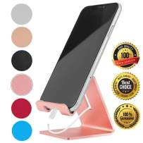 Desk Cell Phone Stand Holder Aluminum Phone Dock Cradle Compatible with Switch, All Android Smartphone, for iPhone 11 Pro Xs Xs Max Xr X 8 7 6 6s Plus 5 5s 5c Charging, Accessories Desk (Rose Gold)