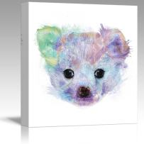 wall26 - Fun and Colorful Splattered Watercolor Chihuahua Puppy - Canvas Art Home Decor - 16x16 inches