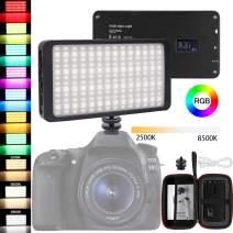 RGB LED Video Light,Full Color Output Led Camera Light, Dimmable 2500K-8500K Camcorder Mini Pocket LED Light Panel for Photography/Video/Photo Studio/Live Streaming/Ambient Light(Black)