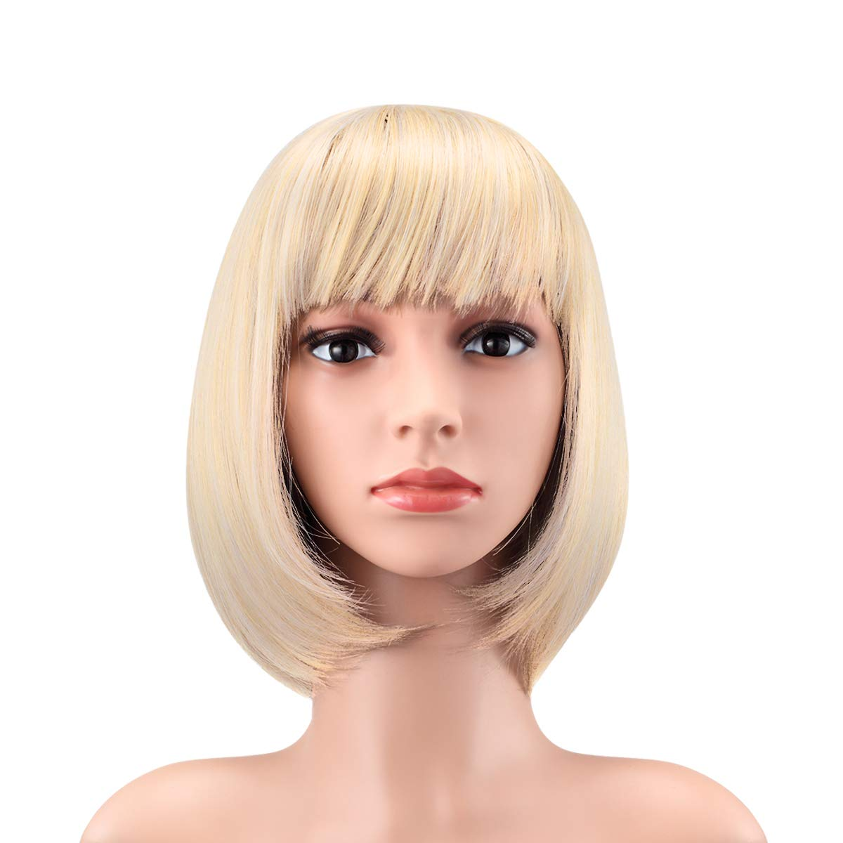 """WENDY HAIR Heat Resistant Short Bob Hair Wigs 12"""" Straight with Flat Bangs Synthetic Colorful Daily Cosplay Party Wig for Women Natural As Real Hair, Blond"""