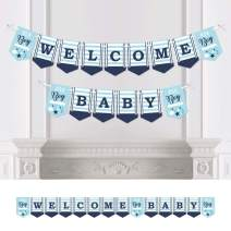 Big Dot of Happiness It's a Boy - Blue Baby Shower Bunting Banner - Party Decorations - Welcome Baby